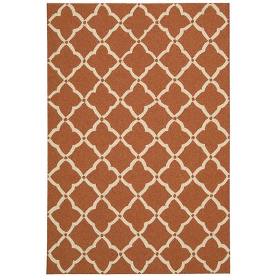 Merganser Hand-Tufted Orange/Beige Indoor/Outdoor Area Rug Rug Size: 23 x 39