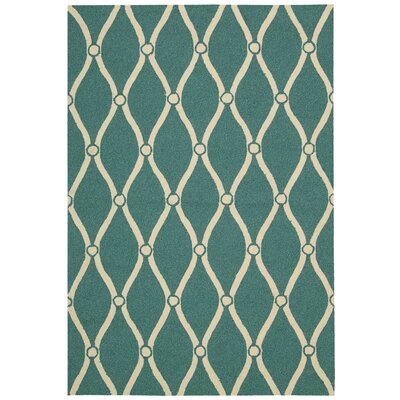 Merganser Hand-Tufted Aqua/Beige Indoor/Outdoor Area Rug Rug Size: 23 x 39
