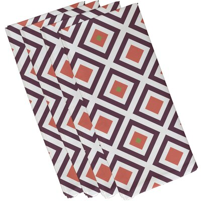 Frances Geometric Napkin Color: Purple / Coral, Size: 19