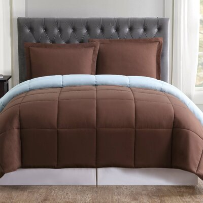 Carolina Reversible Comforter Set Size: King, Color: Chocolate and Light Blue