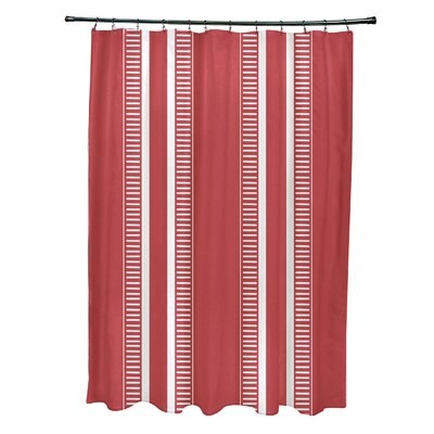 Lindale Dashing Stripe Shower Curtain Color: Red