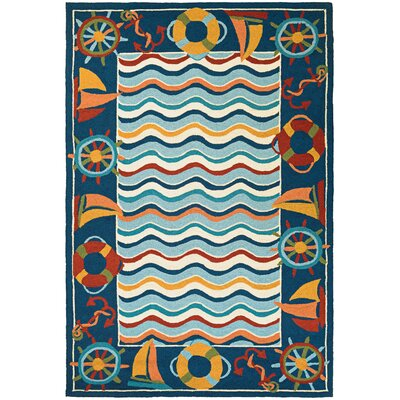 Welshire Hand-Woven Blue/Orange Area Rug
