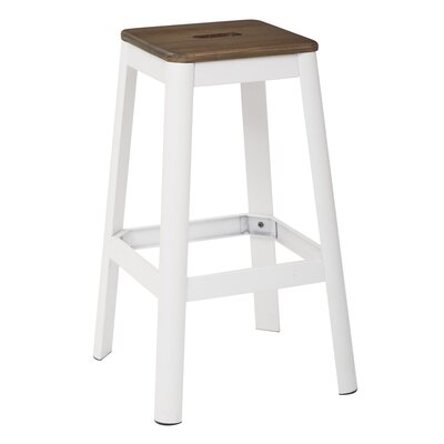 Achilles 29.5 Bar Stool Frame Color: White, Seat Color: Darkwood