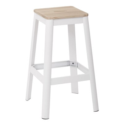Achilles 29.5 Bar Stool Frame Color: White, Seat Color: Lightwood
