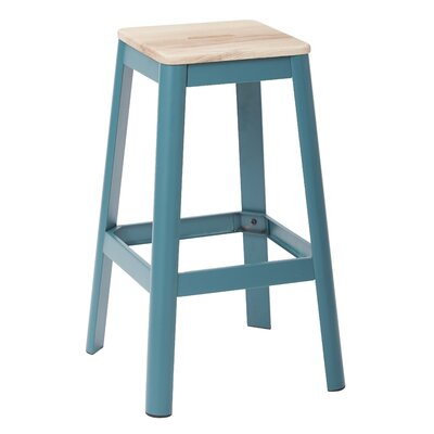 Achilles 29.5 Bar Stool Frame Color: Teal, Seat Color: Lightwood
