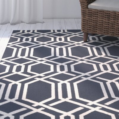 Marshfield Ariatta Hand-Woven Navy/Ivory Indoor/Outdoor Area Rug Rug Size: Rectangle 36 x 56