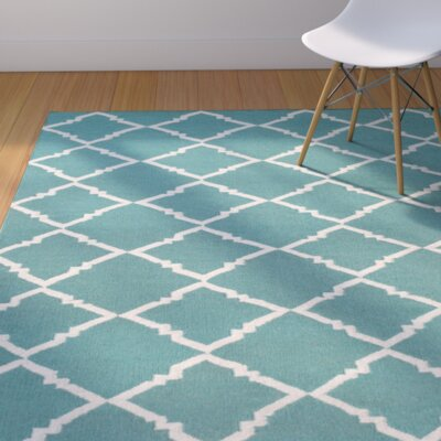 Highlands Dark Egg Blue / Ivory Area Rug Rug Size: 5 x 8