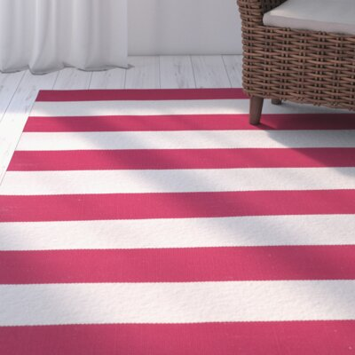 Brookvale Hand-Woven Cotton Red/White Area Rug Rug Size: Rectangle 3 x 5