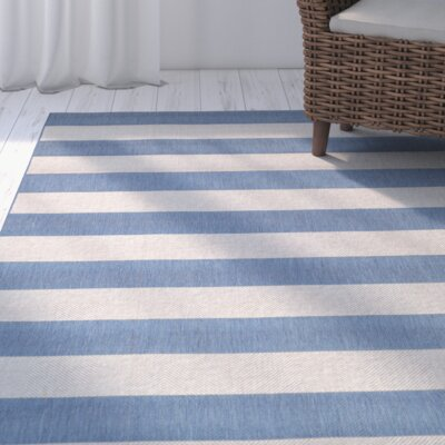 Gallinas Blue Striped Indoor/Outdoor Area Rug Rug Size: Rectangle 92 x 125