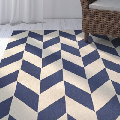 Breakwater Bay Marshfield Herringbone Hand-Woven Blue/Tan Area Rug