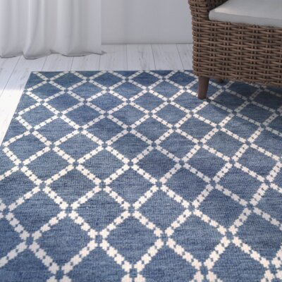 Oceane Hand-Woven Sapphire/Ivory Area Rug Rug Size: Rectangle 2 x 4