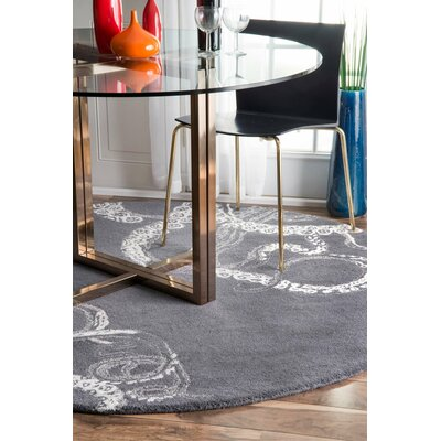 Greenridge Hand-Tufted Midnight Area Rug Rug Size: Round 6'