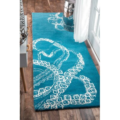 Claretta Hand-Tufted Blue/White Area Rug Rug Size: Runner 26 x 8