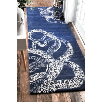 Claretta Hand-Tufted Blue Area Rug Rug Size: Runner 26 x 8