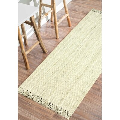 Elana Hand-Woven Bleached Ivory Area Rug Rug Size: Runner 26 x 10