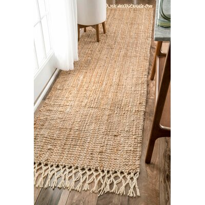 Cannon Hand-Woven Natural Area Rug Rug Size: Runner 26 x 10