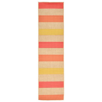 Orange Pink/Yellow Indoor/Outdoor Area Rug Rug Size: Runner 111 x 76