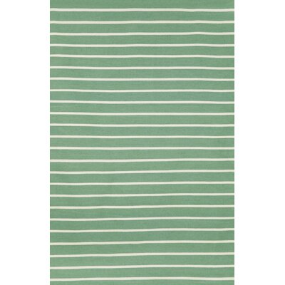 Ranier Pinstripe Hand-Woven Aqua Indoor/Outdoor Area Rug Rug Size: Rectangle 76 x 96