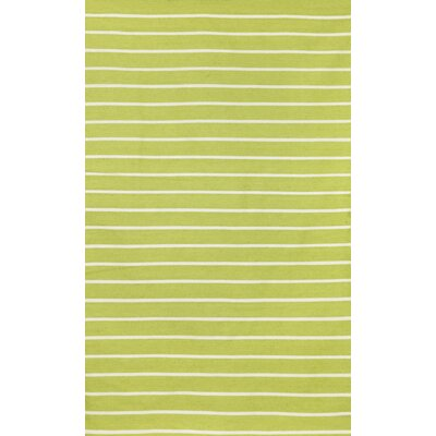 Breakwater Bay Torington Pinstripe Lime Green/Ivory Indoor/Outdoor Area Rug
