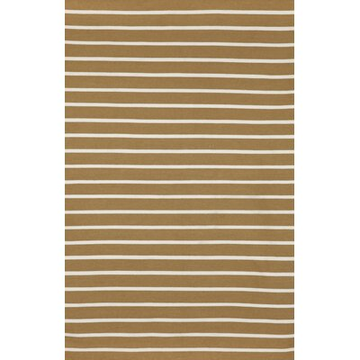 Ranier Hand-Woven Pinstripe Khaki Indoor/Outdoor Area Rug Rug Size: Rectangle 76 x 96