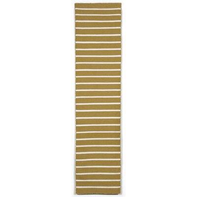 Ranier Hand-Woven Pinstripe Khaki Indoor/Outdoor Area Rug Rug Size: Runner 2 x 8