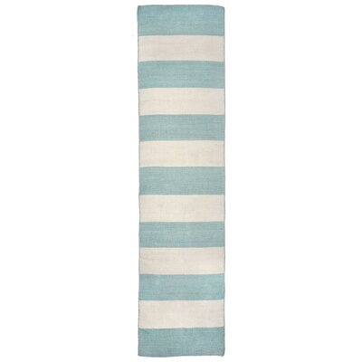 Torington Rugby Stripe Hand-Woven Blue/Beige Indoor/Outdoor Area Rug