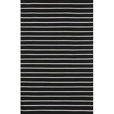 Torington Pinstripe Hand-Woven Black Indoor/Outdoor Area Rug Rug Size: 36 x 56