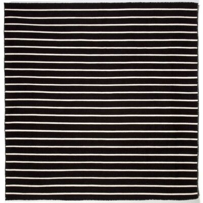 Ranier Pinstripe Hand-Woven Black Indoor/Outdoor Area Rug Rug Size: Square 8