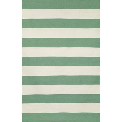 Torington Rugby Stripe Hand-Woven Aqua/White Indoor/Outdoor Area Rug