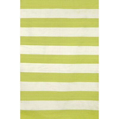 Ranier Stripe Hand-Woven Lime Indoor/Outdoor Area Rug Rug Size: 76 x 96