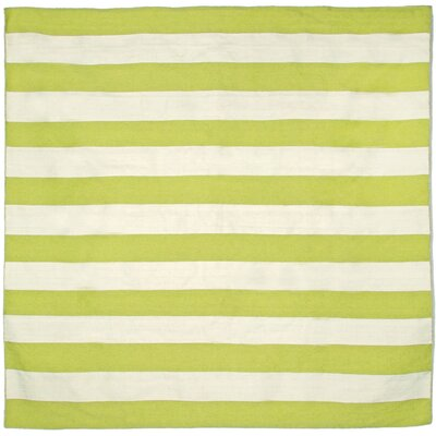 Ranier Stripe Hand-Woven Lime Indoor/Outdoor Area Rug Rug Size: Square 8