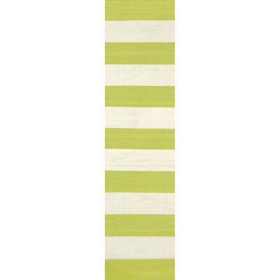 Ranier Stripe Hand-Woven Lime Indoor/Outdoor Area Rug Rug Size: Runner 2 x 8