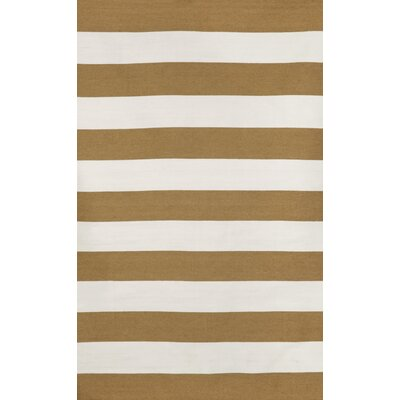 Ranier Stripe Hand-Woven Khaki Indoor/Outdoor Area Rug Rug Size: Rectangle 36 x 56