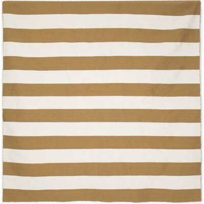 Ranier Stripe Hand-Woven Khaki Indoor/Outdoor Area Rug Rug Size: Square 8