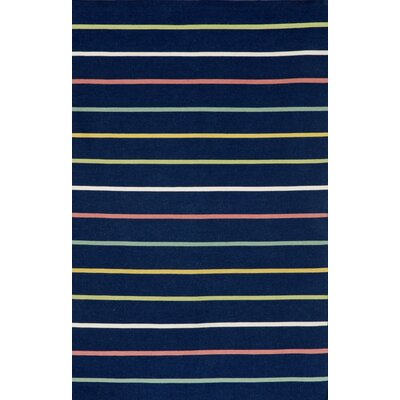 Torington Candy Stripe Hand-Woven Navy Indoor/Outdoor Area Rug Rug Size: 7'6 x 9'6