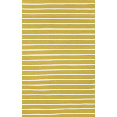 Breakwater Bay Torington Pinstripe Yellow/Ivory Indoor/Outdoor Area Rug