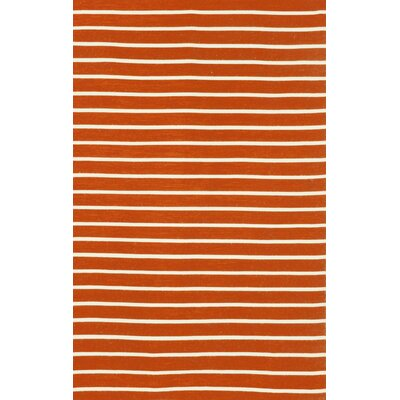 Ranier Pinstripe Hand-Woven Paprika Orange Indoor/Outdoor Area Rug Rug Size: 76 x 96
