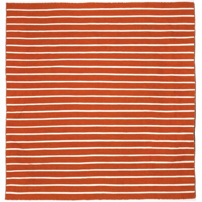 Ranier Pinstripe Hand-Woven Paprika Orange Indoor/Outdoor Area Rug Rug Size: Square 8