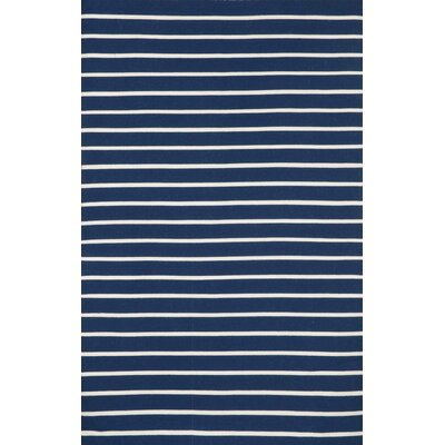 Torington Pinstripe Hand-Woven Navy Indoor/Outdoor Area Rug
