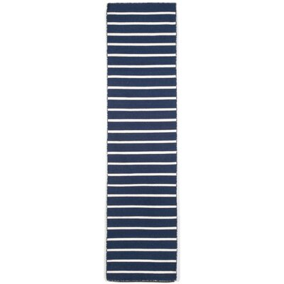 Ranier Pinstripe Hand-Woven Navy Indoor/Outdoor Area Rug Rug Size: Rectangle 76 x 96