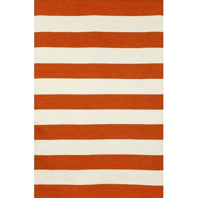 Breakwater Bay Torington Rugby Stripe Paprika Orange/Ivory Indoor/Outdoor Area Rug