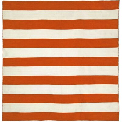 Ranier Stripe Hand-Woven Paprika Orange/Ivory Indoor/Outdoor Area Rug Rug Size: Square 8