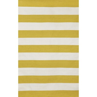 Ranier Stripe Hand-Woven Yellow/Ivory Indoor/Outdoor Area Rug Rug Size: 83 x 116