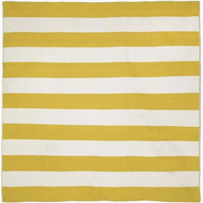 Ranier Stripe Hand-Woven Yellow/Ivory Indoor/Outdoor Area Rug Rug Size: Square 8