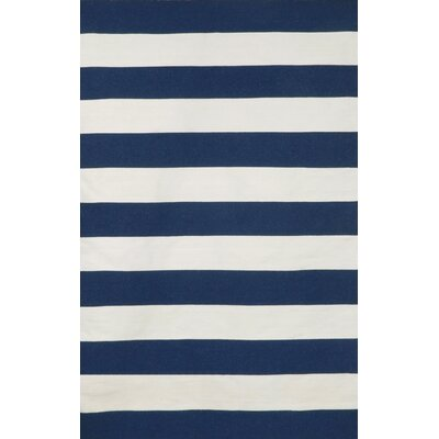 Breakwater Bay Torington Indoor/Outdoor Rugby Stripe Navy Indoor/Outdoor Area Rug