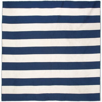 Ranier Stripe Hand-Woven Navy Indoor/Outdoor Area Rug Rug Size: Square 8