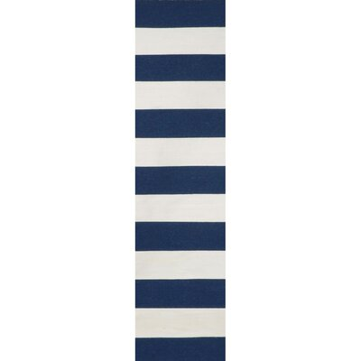 Ranier Stripe Hand-Woven Navy Indoor/Outdoor Area Rug Rug Size: Runner 2 x 8