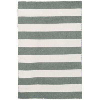 Torington Rugby Stripe Hand-Woven Grey Indoor/Outdoor Area Rug