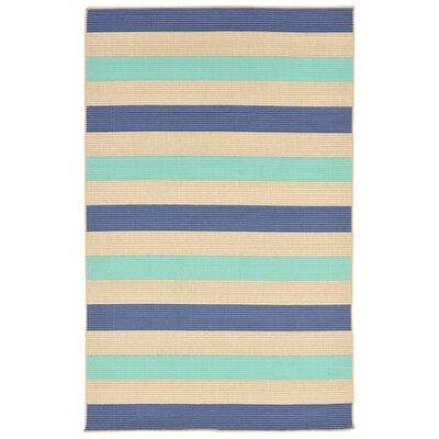 Valero Stripe Beige/Blue Indoor/Outdoor Area Rug Rug Size: 710 x 910