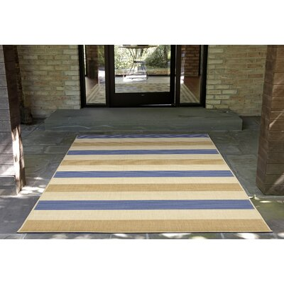 Valero Stripe Beige/Blue Indoor/Outdoor Area Rug Rug Size: 710 x 910